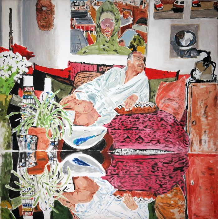 Christian au salon, 2005, 100x100cm, oil on canvas, Castaignet
